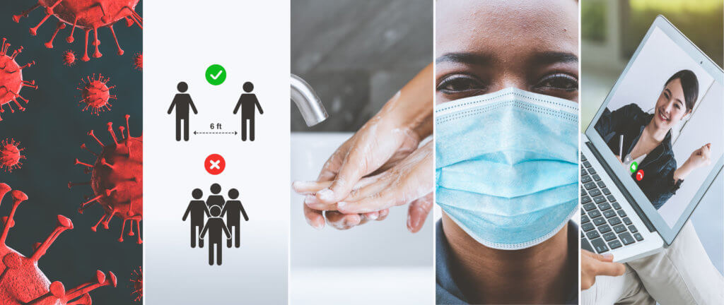 Coronavirus COVID-19 image set banner in concept of prevention information including safety precaution and doctor service to prevent spreading infection of covid-19 or 2019 Coronavirus Disease.